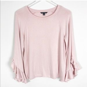Banana Republic Pink Ruffled Bell Sleeve Sweater